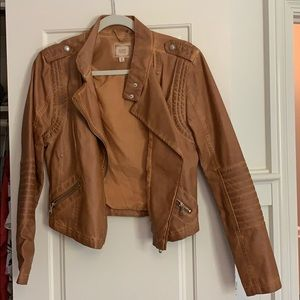 Black Swan Brown Leather Motto Jacket Size M